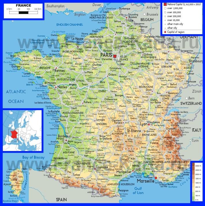 Физическая карта Франции на французском языке