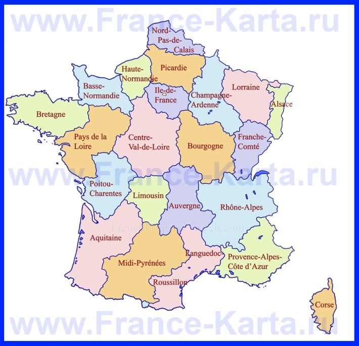Карта регионов Франции