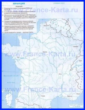 Контурная карта Франции