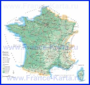 Подробная карта Франции с дорогами