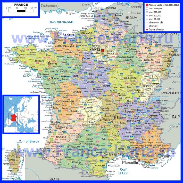 Политическая карта Франции с городами